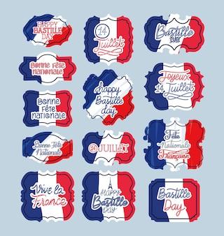 Französische sätze mit französischen flaggen