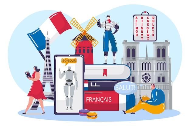 Französische sprache online lernen, vektorillustration. schülercharakter erhält wissen durch internet, kommunikation, bildung mit künstlichem verstand. flacher mann-frauen-charakter in der nähe von büchern, smartphone.