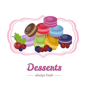 Französische süßspeisen mit obst- und beerenwerbung