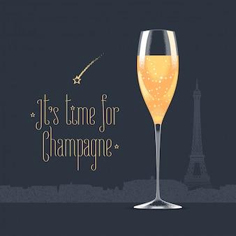 Französischer eiffelturm und glas champagnerillustration