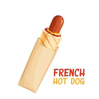 Französischer hot dog in papierverpackung