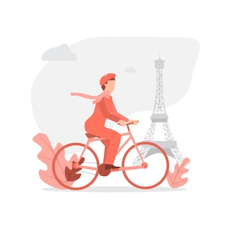 Französischer mann, der fahrrad in paris reitet