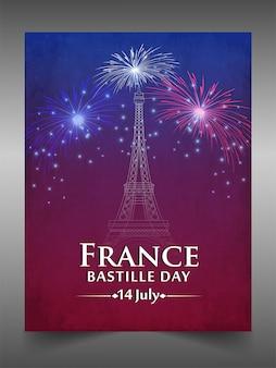 Französischer nationalfeiertag. glücklicher bastille-tag