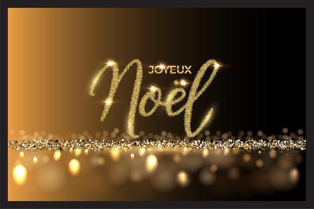 Französischer weihnachtshintergrund mit joyeux nöel text und glänzenden bokehlichtern