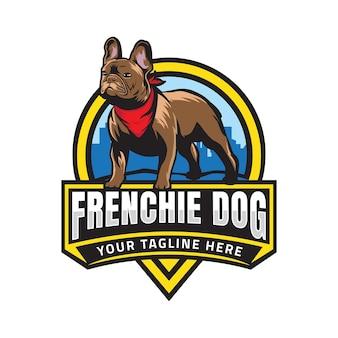 Französisches bulldoggenabzeichen-logo
