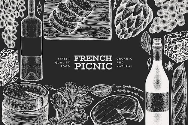 Französisches lebensmittelillustrationsdesign. hand gezeichnete picknickmahlzeitillustrationen auf kreidetafel.