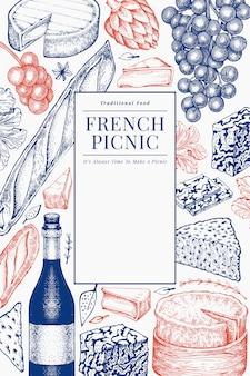 Französisches lebensmittelillustrationsdesign. hand gezeichnete picknickmahlzeitillustrationen. verschiedene snacks und weine im gravierten stil. vintage food hintergrund.