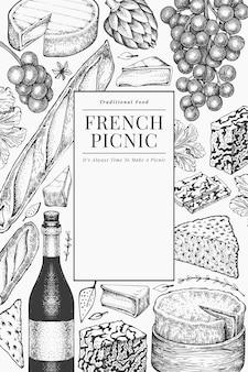 Französisches lebensmittelillustrationsdesign. hand gezeichnete picknickmahlzeitillustrationen. verschiedene snacks und weine im gravierten stil