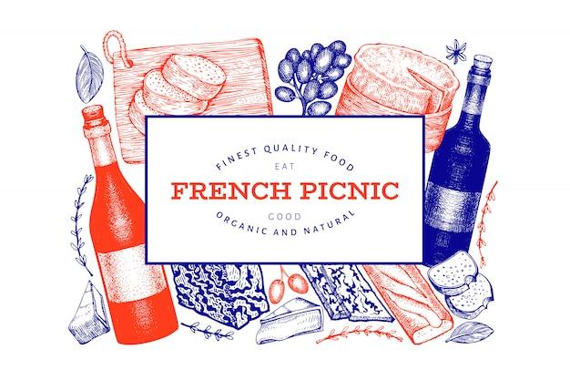 Französisches lebensmittelillustrationsdesign mit verschiedenen snacks und weinen im gravierten stil