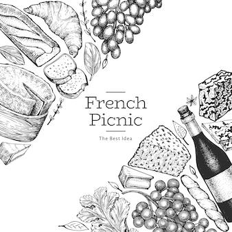 Französisches lebensmittelillustrationsdesign. verschiedene snacks und weine im gravierten stil