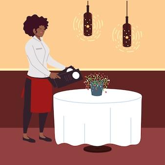Frau afro in uniform nimmt eine bestellung in einem restaurant entgegen