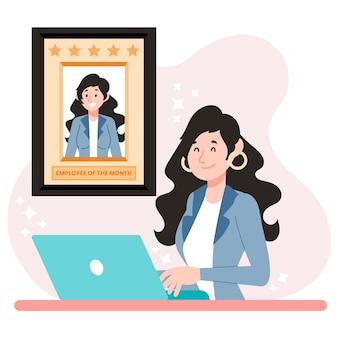 Frau als angestellte des monats