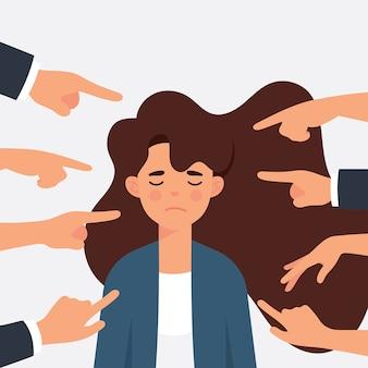 Frau als arbeiterin wird von ihren bürokollegen mobbing