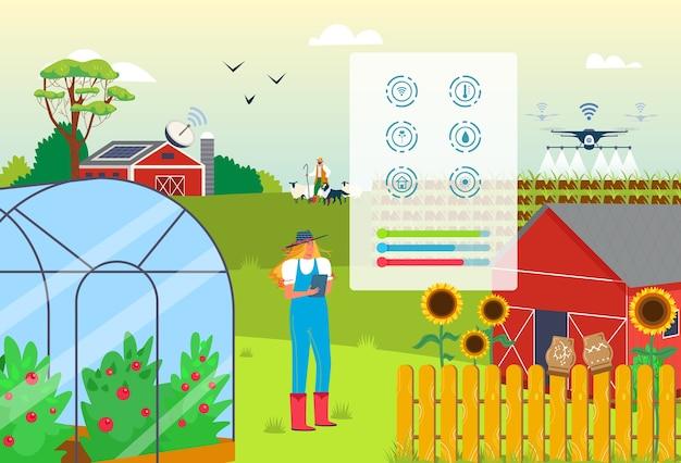 Frau am landwirtschaftsbetrieb verwenden intelligente landwirtschaft digitales technologie-app-konzept