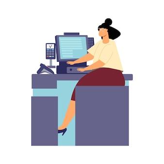 Frau an der flachen illustration des kassenschreibtisches auf weiß