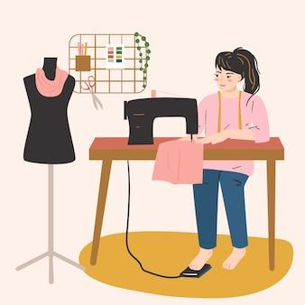 Frau arbeitet mit nähmaschine. weibliches hobby, aktivität, beruf. kreativität zu hause konzept.