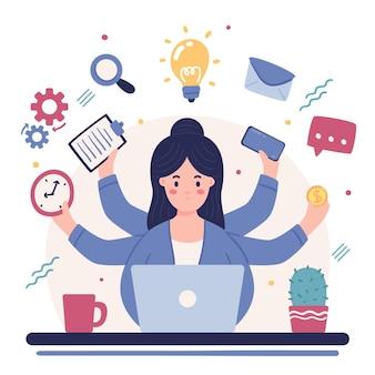 Frau arbeitet multitasking-aktivitäten