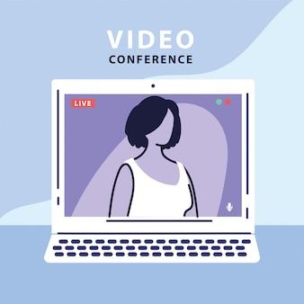 Frau auf dem computerbildschirm in einer live-übertragung