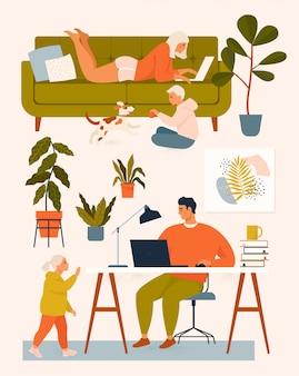 Frau auf der couch, mann am schreibtisch, der zu hause mit dem computer und den kindern spielt, die mit dem hund spielen