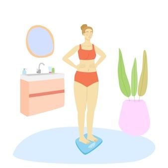 Frau auf der skala im badezimmerbodenskala-vektorkarikatur-flache illustration lokalisiert auf weiß