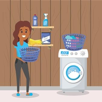 Frau auf der wäscherei