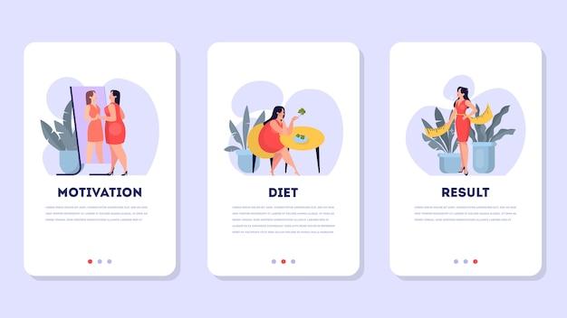 Frau auf diät eingestellt. idee einer gesunden ernährung und mahlzeit portion. körper und maßband. kalorienzählen in lebensmitteln. cartoon-illustration