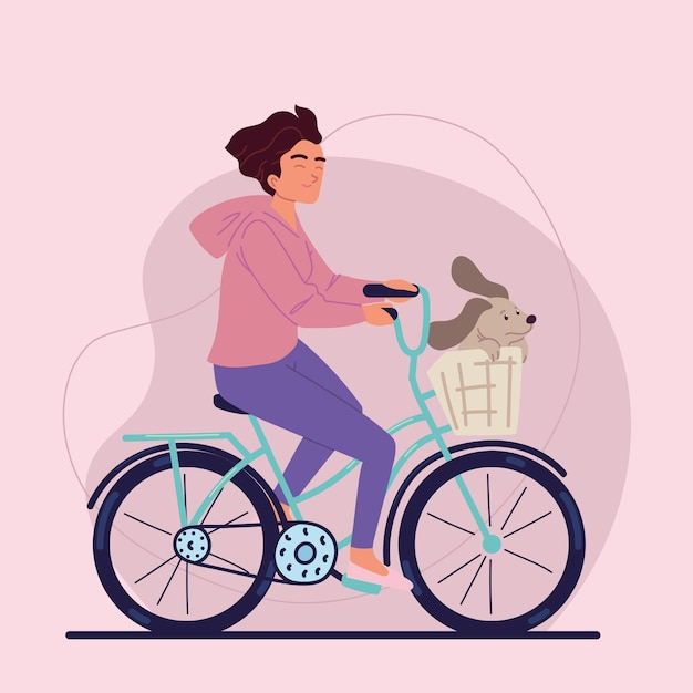 Frau auf fahrrad mit hund