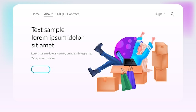 Frau auf kartons mit laptop-online-shopping-konzept horizontalen kopierraum