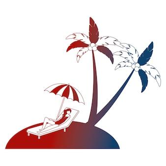 Frau auf liegestuhl sonnenschirm strand palme