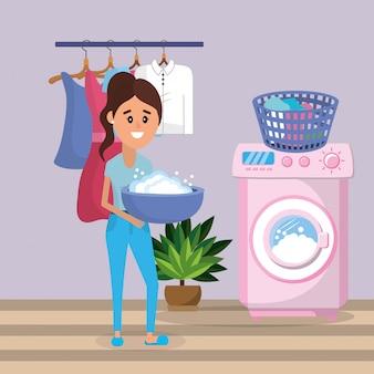 Frau auf wäsche
