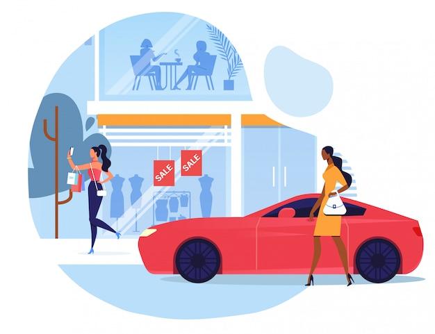 Frau außerhalb der mode-butiken-vektor-illustration