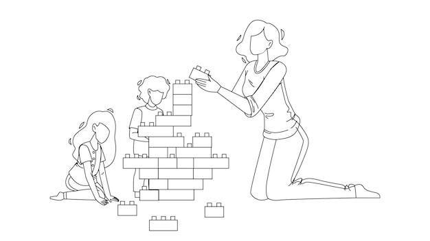 Frau babysitting und spielen mit kindern black line bleistiftzeichnung vektor. junges mädchen, das mit kindern babysittet und spielt. charaktere babysitter und babys bauen turm mit blöcken spielzeug illustration
