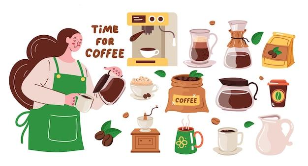 Frau barista und kaffeemaschine, die kaffeegetränk zubereiten
