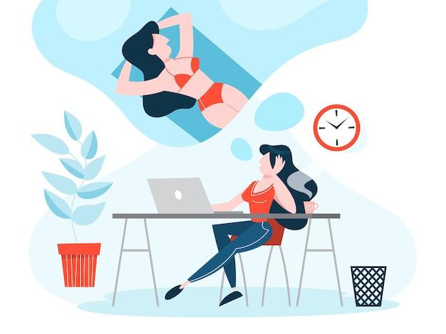 Frau bei der arbeit träumt von sommerferien