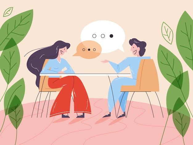 Frau bei einem vorstellungsgespräch. idee eines unternehmens und gespräch mit dem mitarbeiter. kandidat für einen job. illustration