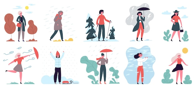 Frau bei unterschiedlichem wetter. mädchen, das in der wolken-, wind-, regen- und kaltwetter-illustrationsset geht saison und wetter weibliche aktivitäten. charakter mit regenschirm, schlitten und ski