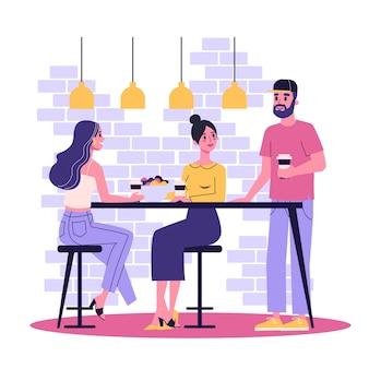 Frau beim mittagessen bei der arbeit mit kollegen. weibliche person essen. mädchen sitzt am tisch. illustration im cartoon-stil