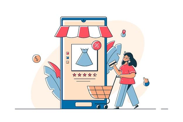 Frau beim online-shopping über die smartphone-app