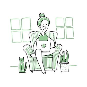 Frau benutzt notizbuch und sitzt auf einem sofa. Premium Vektoren