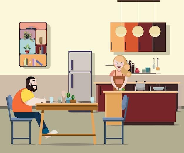 Frau bereiten das kochen des lebensmittels für ihren ehemann vor