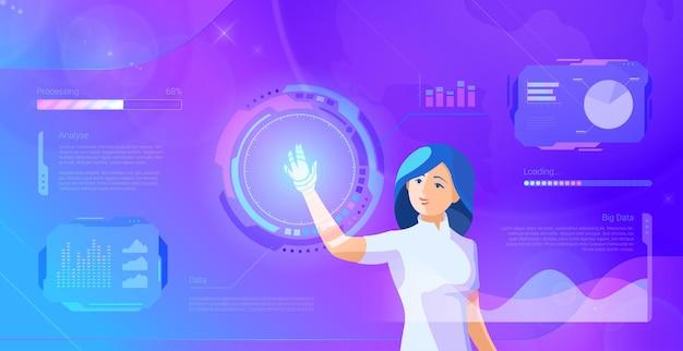 Frau betreibt virtuelle schnittstelle ultraviolette illustration zukünftiges globales kommunikationsnetz
