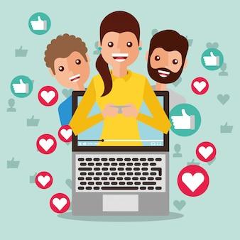 Frau blogger auf dem bildschirm virale inhalte menschen anhänger wie die liebe