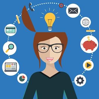 Frau brainstorming