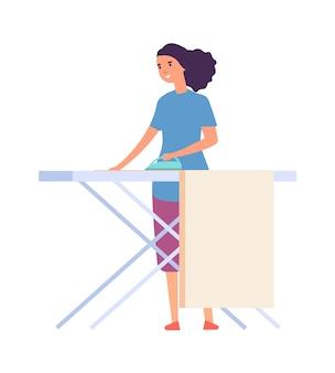 Frau bügeln. hausfrau macht hausarbeit. flacher weiblicher charakter mit eisen. isolierte süße frau-vektor-illustration. hausfrau bügelt, macht hausarbeit, frau bügelt kleidung