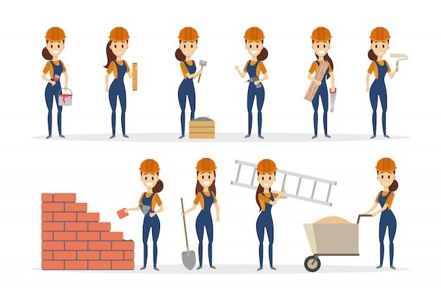Frau builder set. weibliche bauarbeiterin mit posen.