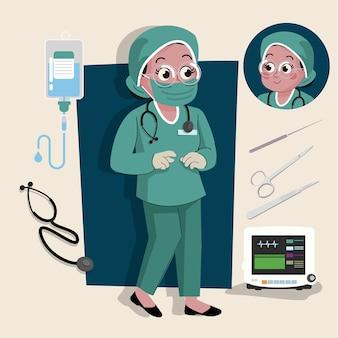 Frau chirurg süße 2d-figur bereit für animation komplett mit job-tools