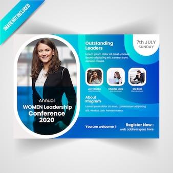 Frau conference horizontale flyer vorlage