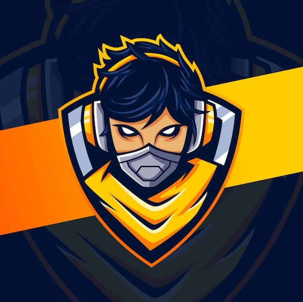 Frau cyborg gamer maskottchen esport logo design