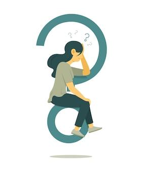 Frau denkt die frage und sitzt auf einem großen fragezeichen symbol.