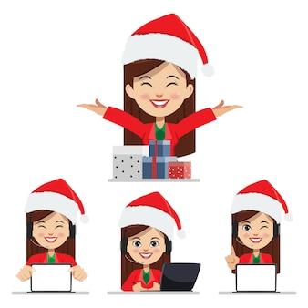 Frau der frohen weihnachten und des kundenkontaktcenters mit geschenkboxsatz.